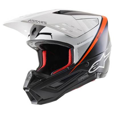 CASQUE ALPINESTARS S-M5 BLANC NOIR ORANGE FLUO