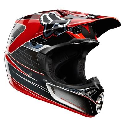 CASQUE FOX V3 STEEL FAITH ARGENT/ROUGE