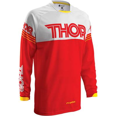 MAILLOT THOR MX PHASE HYPERION ROUGE BLANC
