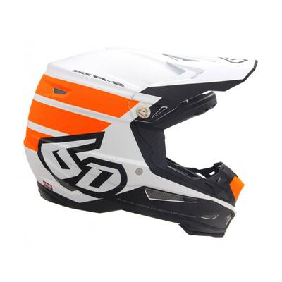 CASQUE 6D ATR-2 STRIPE ORANGE BLANC