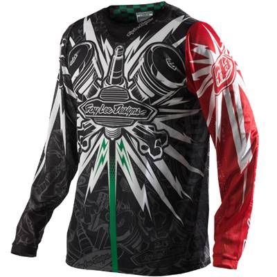 MAILLOT TROY LEE DESIGNS SE PISTON NOIR ROUGE